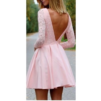 dress baby pink lace open back
