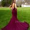 Simple round neck mermaid long prom dress, evening dress - 24prom