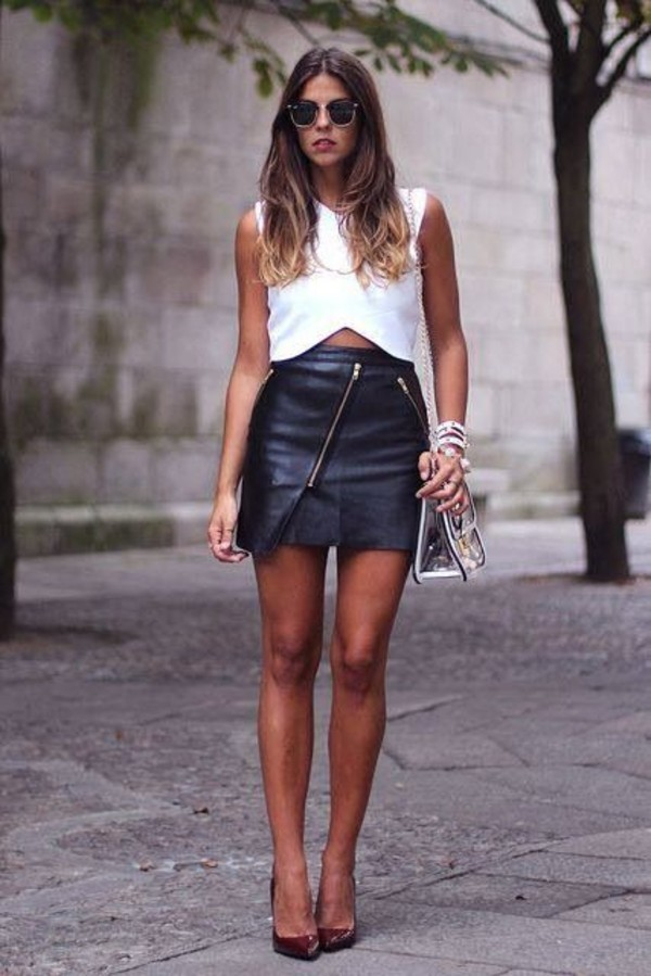 skirt leather shirt