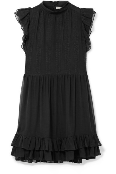 Ulla Johnson dress mini dress mini chiffon embroidered black silk