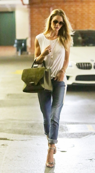 jeans top bag sandals shoes sunglasses rosie huntington-whiteley