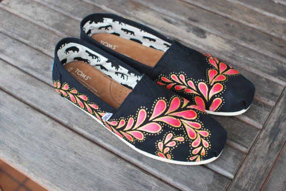 Hand painted paisley toms shoes by bstreetshoes on etsy
