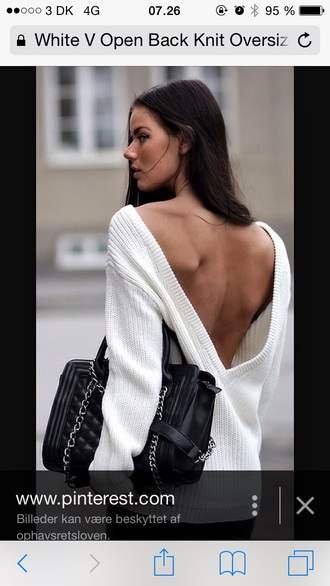 sweater white sweater oversized sweater backless