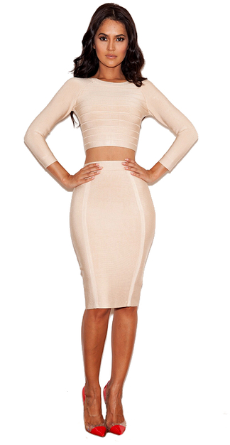 Sleeve Bandage Top & Midi Skirt Set Nude