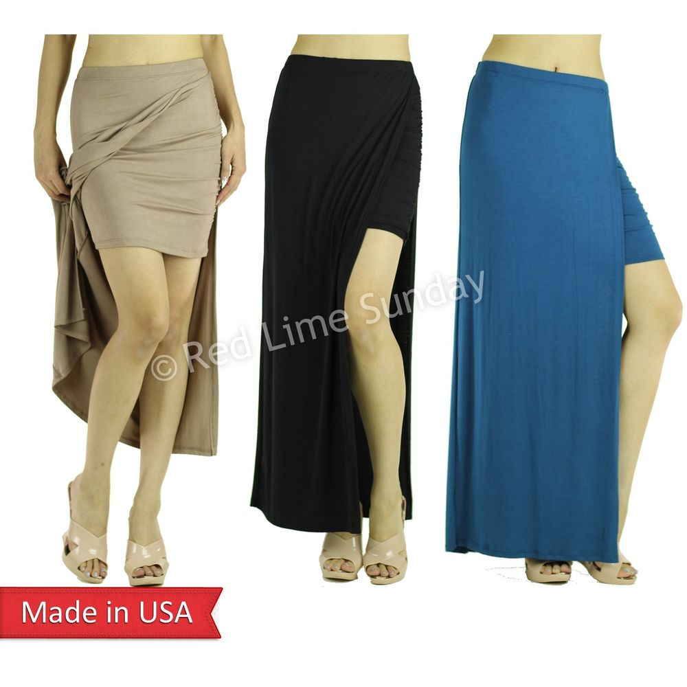 New Sexy Split Long Slit Solid Color Tube Mini Wrapped Slim Fitted Maxi Skirt US