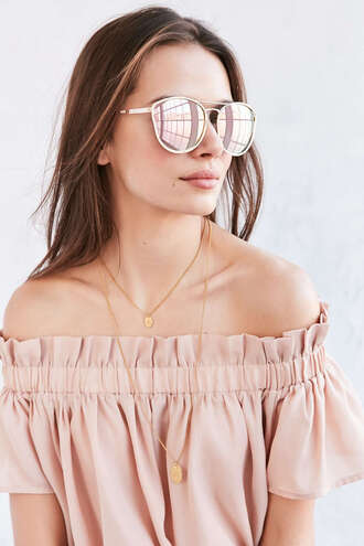 top lauren conrad urban outfitters off the shoulder nude blouse nude
