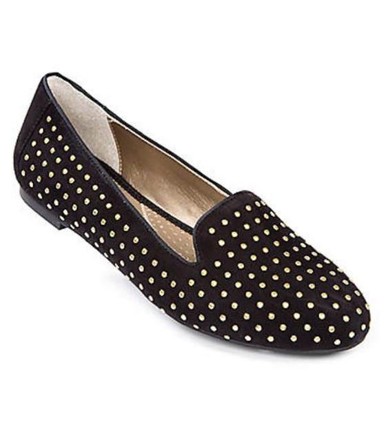 Black Studded Flat Shoes