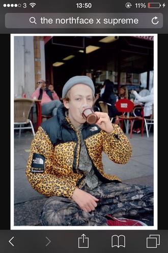 jacket leopard print northface x supreme northface supreme