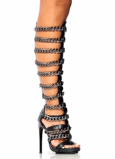 Fresh-Chain-ge-Gladiator-Heels BLACK GOLD - GoJane.com
