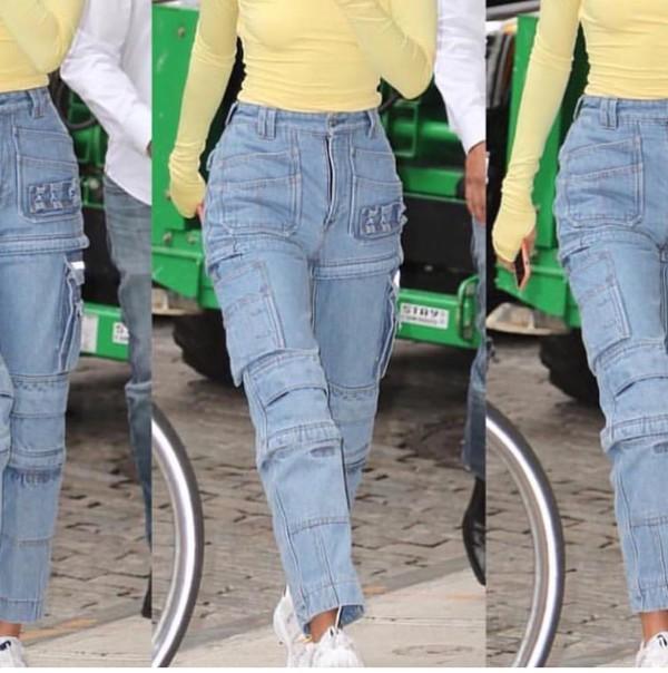pants jeans denim kendall jenner kardashians yellow streetstyle fashion week cargo pants fall outfits