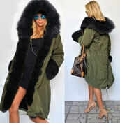 coat,fur,hood,camouflage,green,black,faux fur,big,jacket,winter outfits