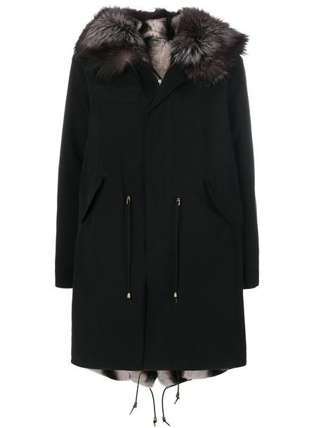 Furs66 parka fur fox women cotton black coat