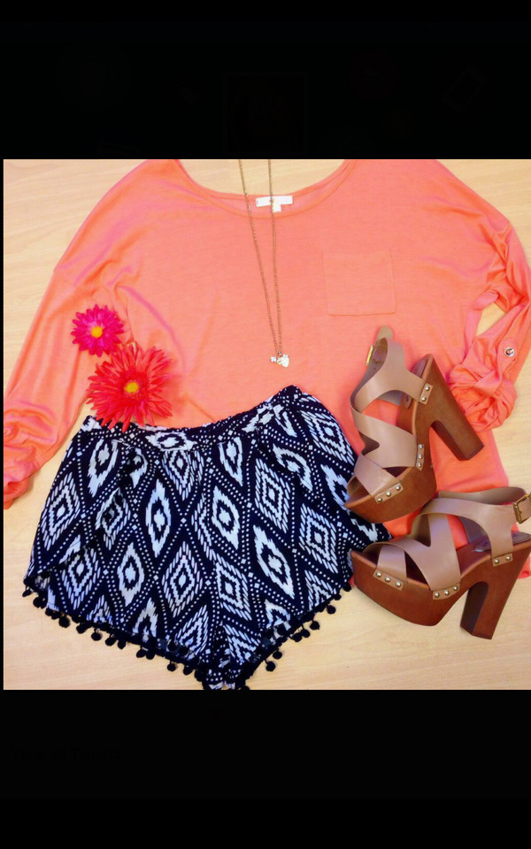 shorts pom pom shorts shoes blouse