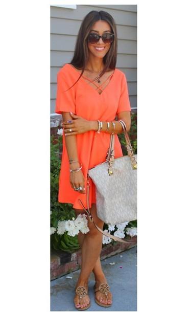 dress orange dress neon neon orange holiday dress boho chic short
