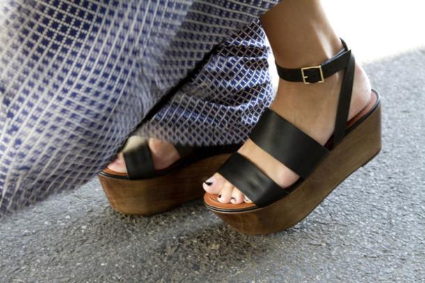 Shoes Black Wood Strap Flat Platform Shoes Summer