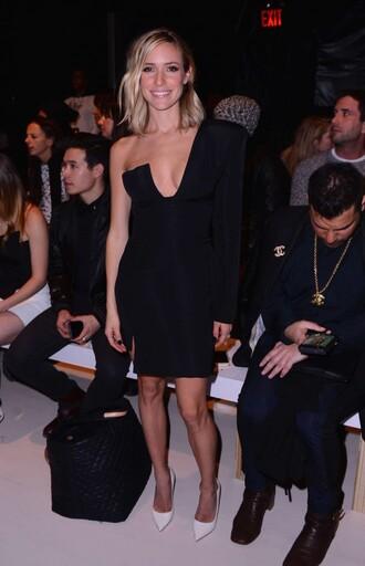 dress black dress one shoulder kristin cavallari fashion week 2015