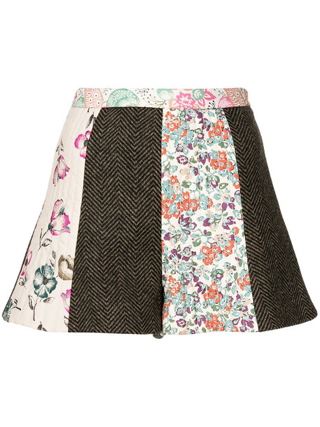shorts patchwork women wool