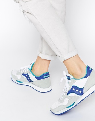 shoes bleu blue sneakers blanc whie girl women grise grey basket saucony