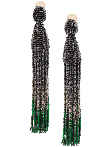 oscar de la renta tassel women beaded earrings grey jewels