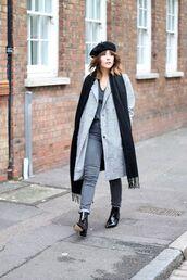 hat,black beret,black scarf,grey coat,grey jeans,black heeled boots,blogger