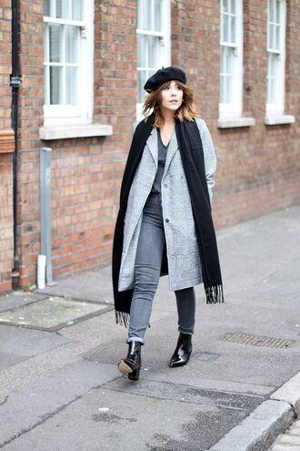 hat black beret black scarf grey coat grey jeans black heeled boots blogger