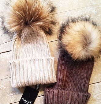 hat fur winter bobble hat warmth knitwear brown hat