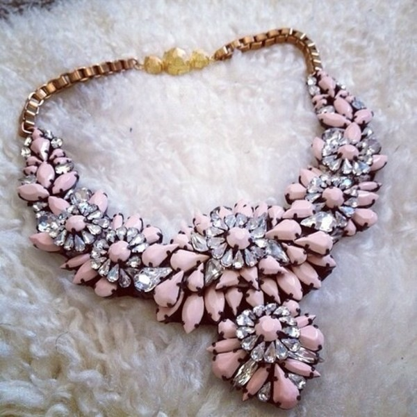 jewels necklace pink statement necklace pink necklace flowers jewerly pretty necklace