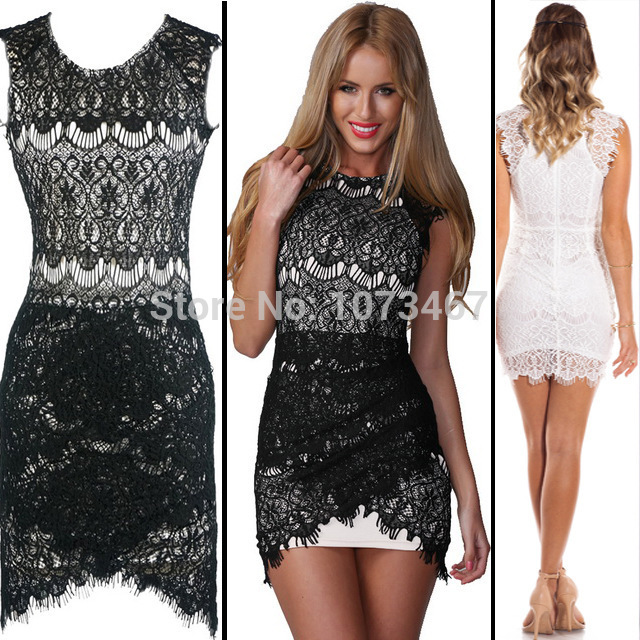 Aliexpress.com : Buy Hot Sale Brand New 2014 Women Vestidos Dress Sleeveless O Neck Lace Decoration Sexy&Club Women's Clothing Bodycon Party Dresses from Reliable dresses clothing suppliers on onesiescos