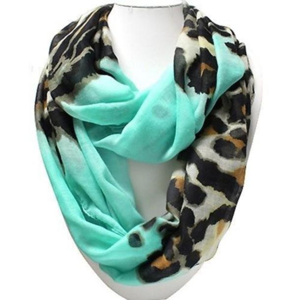 scarf leopard print & mint infinity s infinity scarf