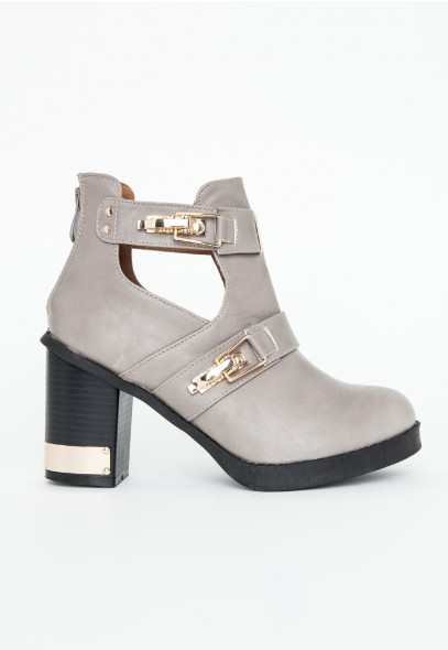 Araika Cut Out Detail Ankle Boots In Grey - Footwear - Boots - Missguided