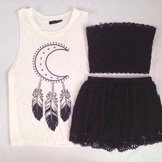 dress black tank top black lacy top black lacy skirt shirt t-shirt white moon top bandeau shorts lace muscle tee crewneck black shorts