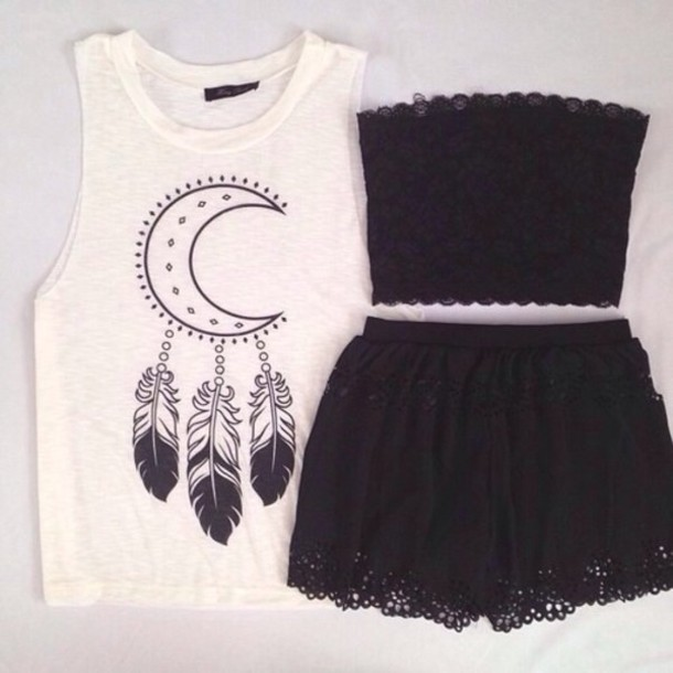 dress black tank top black lacy top black lacy skirt shirt t-shirt white moon top bandeau shorts lace muscle tee crewneck black shorts feathers blouse cardigan black skirt black crop top moon shirt skirt www ebionylace.storenvy boho white top underwear