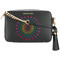 Michael michael kors - ginny star patch crossbody bag - women - leather - one size, black, leather