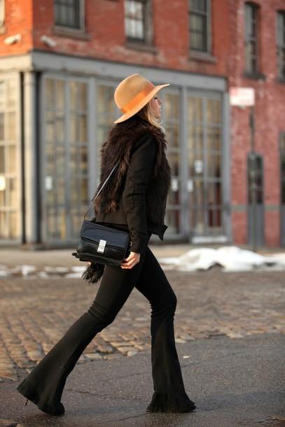 brooklyn blonde blogger 70s style brown flare pants pants jacket hat bag gloves