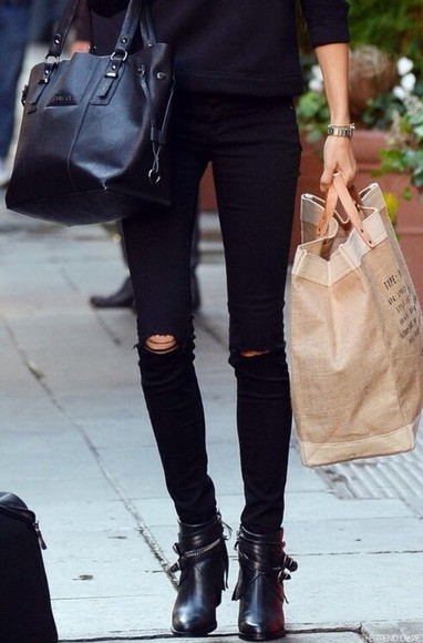jeans trousers shoes pants skinny jeans black skinny pants chic classy stylish skinny tumblr jacket bag