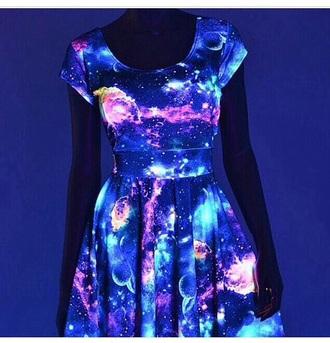dress galaxy dress glow in the dark fashion space skater dress