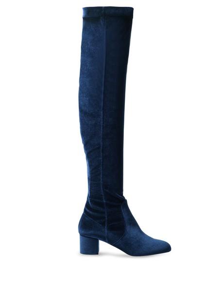 velvet blue shoes