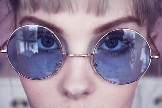 sunglasses round glasses round frame glasses dope indie tumblr hipster grunge fashion fashionista model goth pastel goth soft grunge hippie spring vintage space alien round purple seetrough lennon glasses