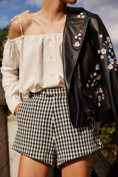 shorts,off-white,tumblr,gingham,top,white top,off the shoulder,off the shoulder top,jacket,embroidered