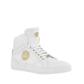 shoes,versace nappa leather mid-top sneakers white