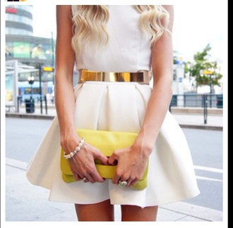 belt gold dress skirt white dress gold belt blonde hair cute dress summer dress love this cute gol skater skirt skater dress short short dress prom dress pleated skirt