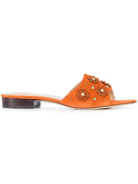 ZAC Zac Posen women sandals leather suede yellow orange shoes