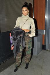 sweater,cropped sweater,turtleneck,turtleneck sweater,camouflage,camo pants,shay mitchell