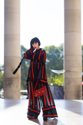 pants fashion week street style fashion week 2016 fashion week paris fashion week 2016 red top bell sleeves stripes striped top wide-leg pants striped pants matching set bag red bag embellished embellished bag streetstyle
