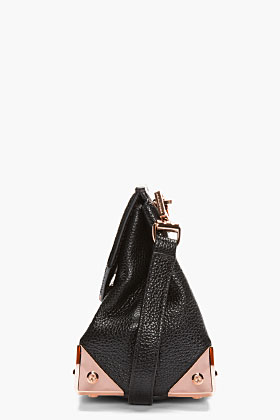 Alexander Wang Black Leather & Rosegold Marion Shoulder Bag for women | SSENSE