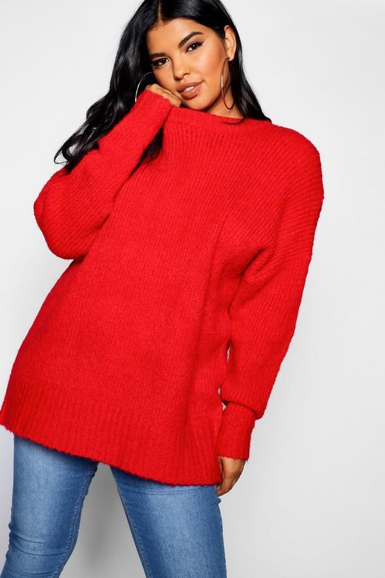 Plus Oversized Knit Boyfriend Jumper | Boohoo