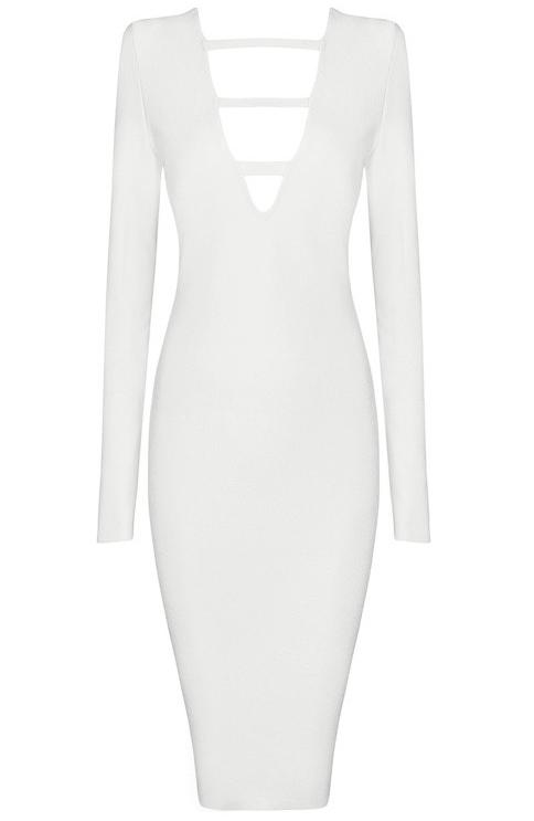 Long Sleeve Cut Out Plunge V Neck Midi Bandage Dress White
