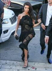 dress,lace dress,black dress,black lace dress,kourtney kardashian,sandals,gown,prom dress,kardashians