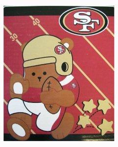 San fransisco 49ers nfl logo raschel royal plush blanket throw