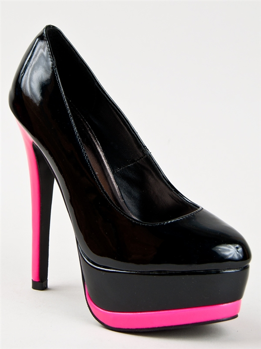 New Glaze Women Neon Platform High Heel Stiletto Pump Hot Pink Sz Black CELINE2 | eBay